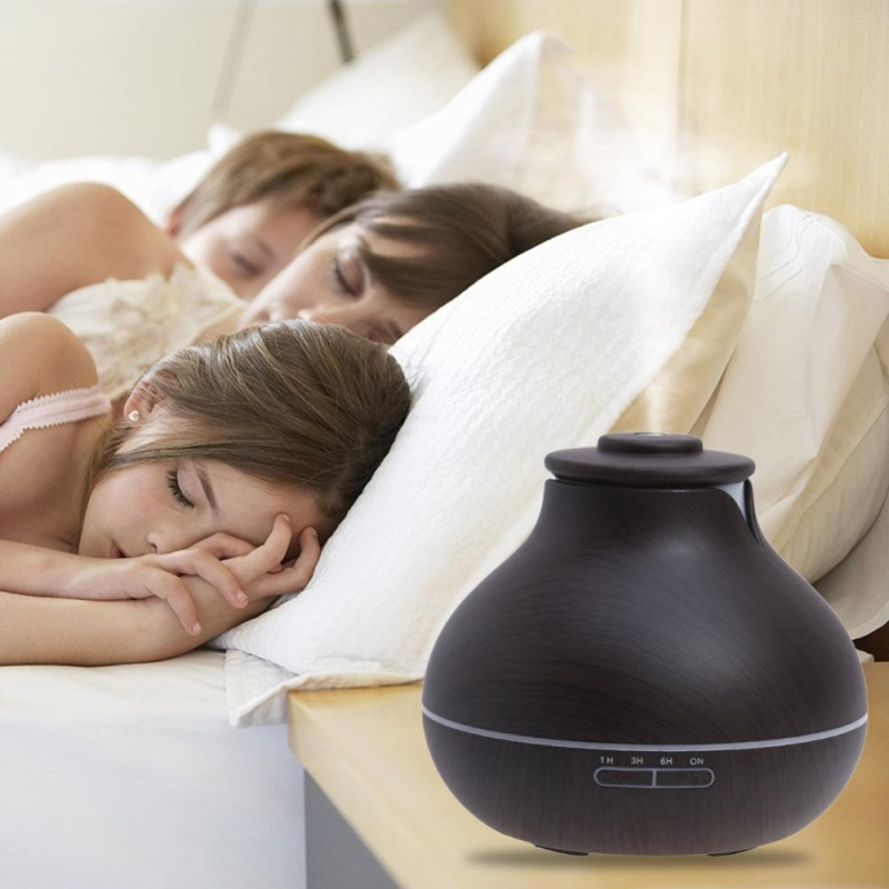 400ml Essential Oil Diffuser Wood Grain Ultrasonic Aroma LED Mist Humidifier(Black)-AU Plug - intl Singapore