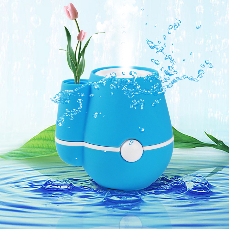 USB Flower Vase Shape Home Office 220ml Air Mist Purifier Humidifier Blue Singapore