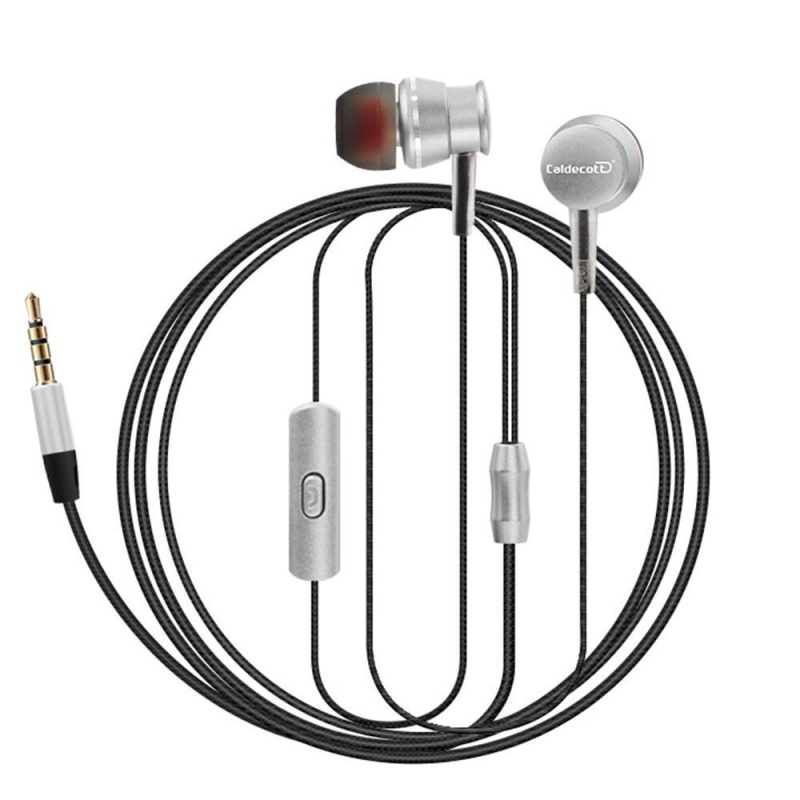 niceEshop New Sports Headphones Metal Cable Hanging Ear Headphones With A Microphone Drive-by-wire General Headphones (Silver) - intl Singapore