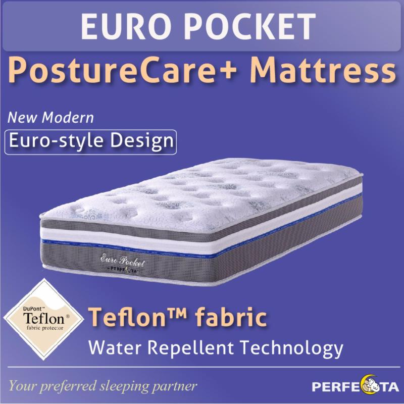 Single size* Euro Pocket Posture Care Plus Mattress * Individual Pocketed Spring * with Teflon fabric * water repellent technology