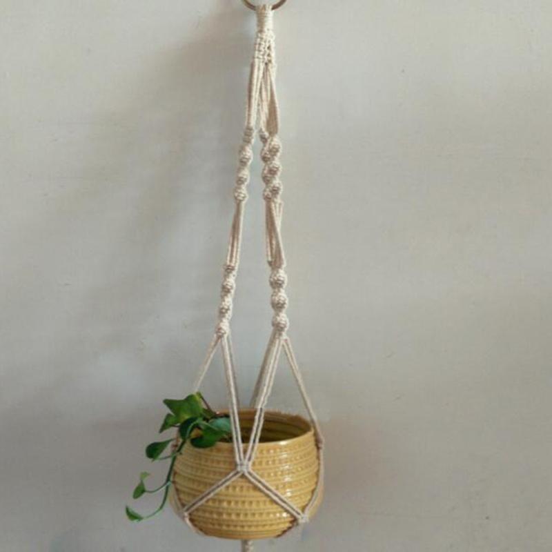 Handcrafted Braided Ropes Hanging Basket Bag Flowers Pot Holder Hanger - intl