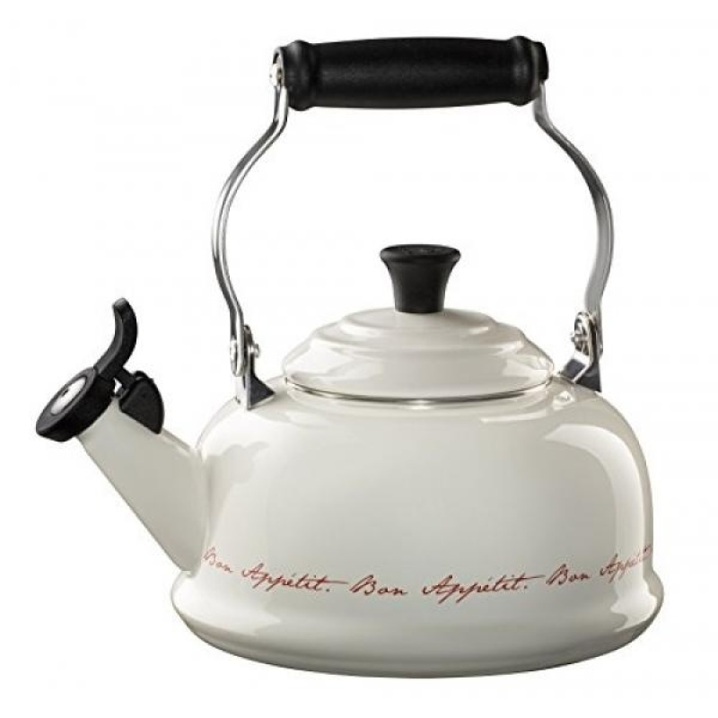 Le Creuset Enamel On Steel 1.8qt Whistling Kettle, White with Red Script lettering - intl Singapore