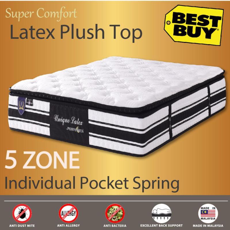 Premium Latex Plush Top * 30cm Thickness * Unique Latex * 5 Zone Individually Pocket Spring