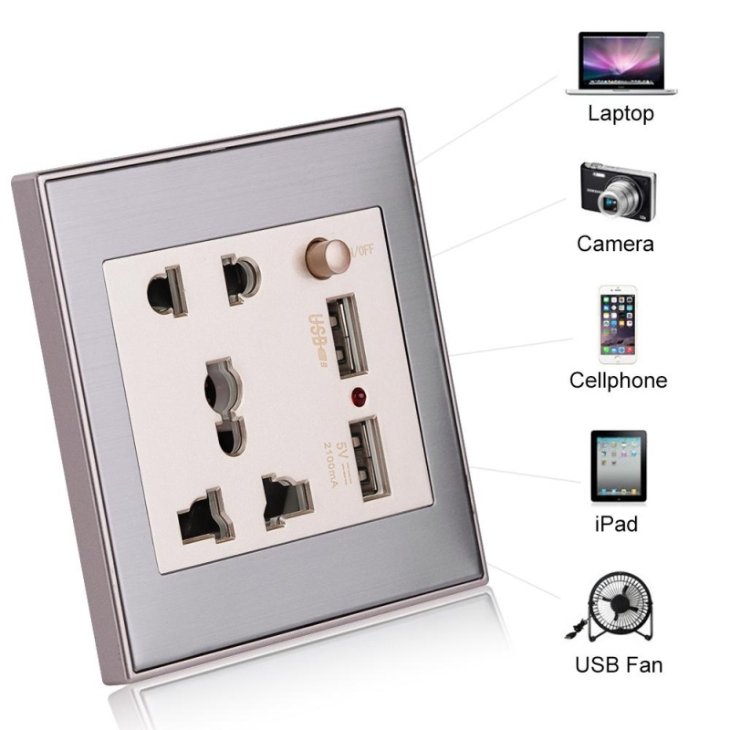 TMISHON 10A Universal Dual USB Wall Socket Panel AC 110-265V Outlet Power Charger with Switch (Silver) - intl