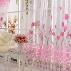 Tulip Print Voile Sheer Curtain Wall Door Window Balcony Curtain Room Divider
