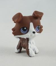 2 Inches Littlest Pet Shop LPS No# Chocolate Brown White Collie Puppy Dog Purple Eyes