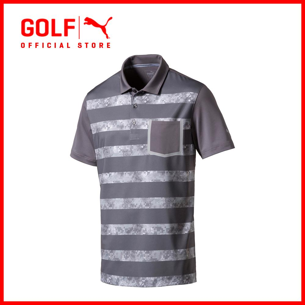 826ec1ec4233 Puma Golf Men Tailored Camo Stripe Polo - Grey