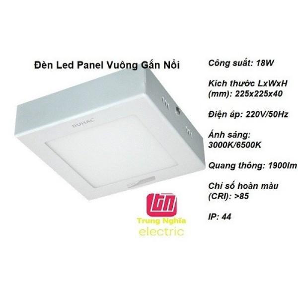 Đèn Led Panel Vuông Gắn Nổi Duhal 18W - KDGB518