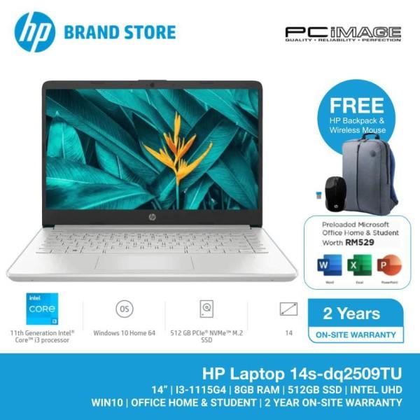 HP 14S-DQ2509TU 14 Laptop/Notebook (i3-1115G4, 8GB, 512GB, Intel UHD, W10, Office H&S) - Silver Malaysia