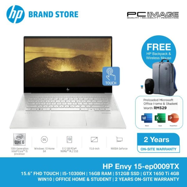 HP Envy 15-EP0009TX 15.6 Laptop/Notebook (i5-10300H, 16GB, 512GB, NV GTX1650Ti, W10H, Off H&S, Touchscreen) -Silver Malaysia