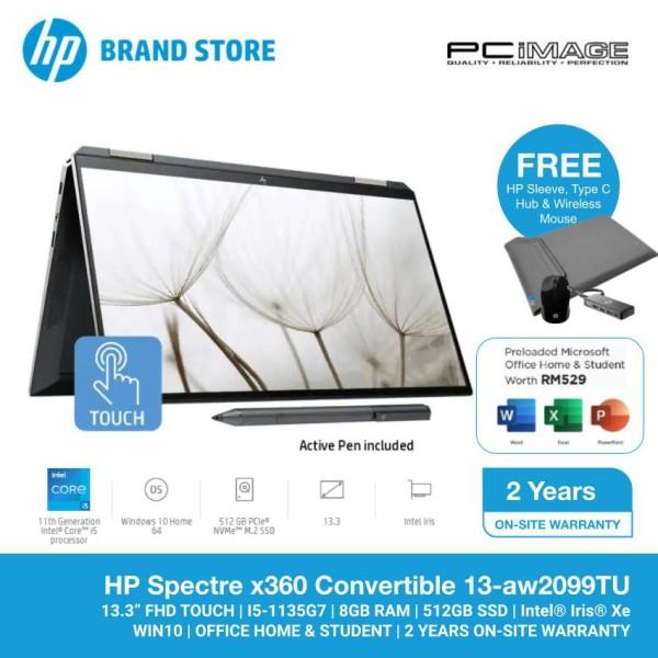HP Spectre x360 13-AW2099TU 13.3 Laptop/Notebook (i5-1135G7, 8GB, 512GB, Intel Iris Xe, W10, Off H&S) Malaysia