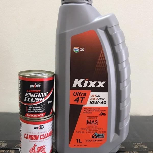 [Nhớt Tốt + Phụ Gia Xịn] COMBO Kixx Ultra Fully Synthetic SN 10W40 1L kèm súc động cơ thunder và súc béc xăng thunder