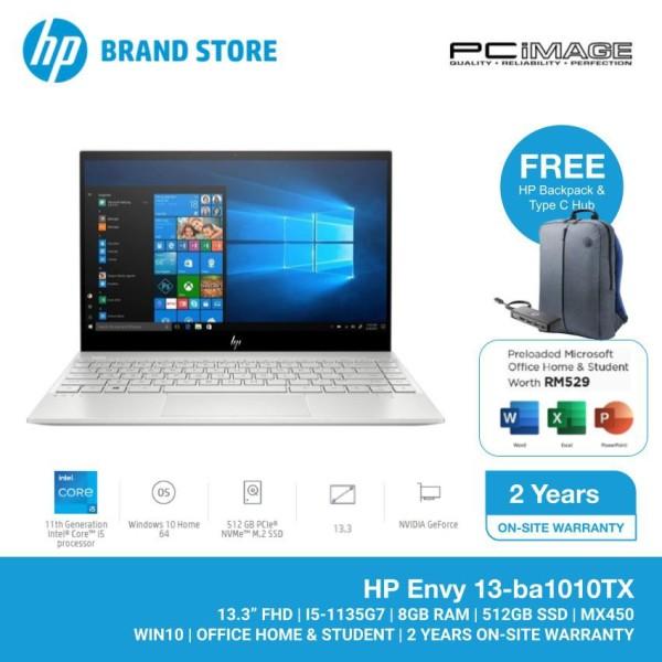HP Envy Laptop 13-ba1010TX 13.3 FHD (i5-1135G7, 8GB, 512GB SSD, NVIDIA MX450 2GB, W10, H&S)- Silver Malaysia