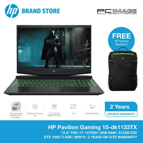 HP Pavilion Gaming 15-DK1133TX 15.6 Laptop/Notebook (i7-10750H, 8GB, 512GB SSD, GTX1660Ti 6GB, W10, 144Hz) - Black Malaysia