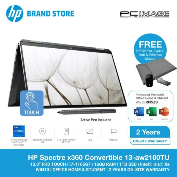 HP Spectre X360 13-AW2100TU 13.3 Laptop/Notebook (i7-1165G7, 16GB, 1TB, Intel Iris Xe, W10, H&S) Malaysia
