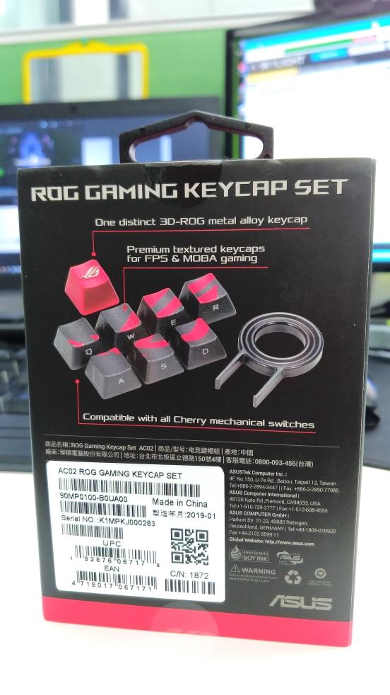 ASUS ROG Gaming Keycap Set with Premium Textured Side-lit Design for FPS//MOBA Ke