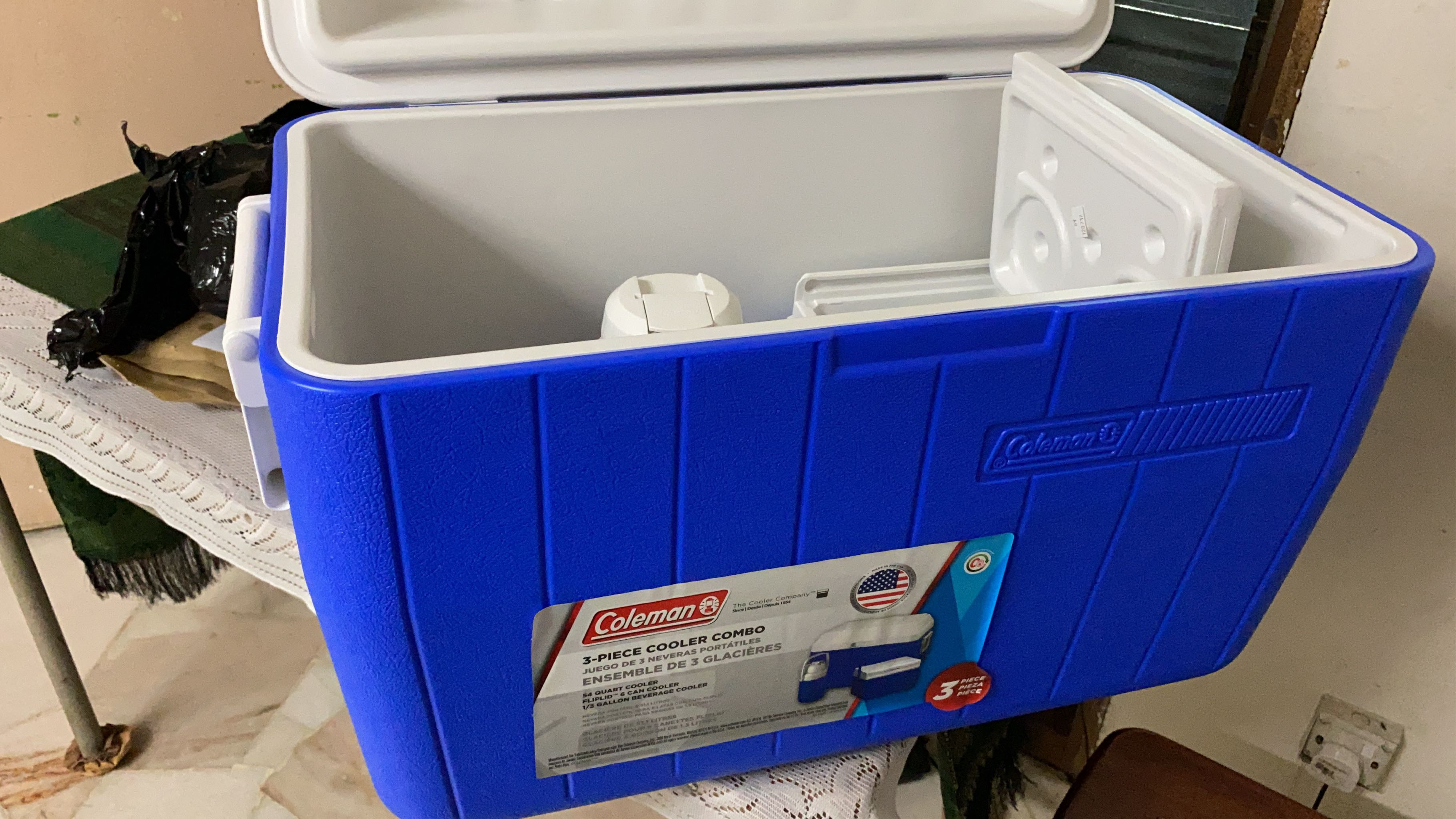 Coleman Combo Ensemble 3-Piece Blue//White Insulated Cooler Set Hinged Lids NWT