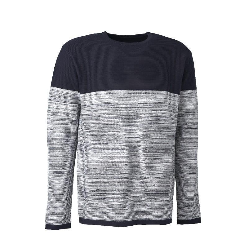 Universal Traveller Men Crew Neck Contrast Knitted Sweater - Ks8073 By Universal Traveller.