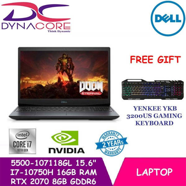 【DELIVERY IN 24 HOURS】DELL G5 5500-107118GL Gaming Laptop 5500-107118GL | 15.6 FHD 300nits WVA Anti-glare Display | Intel Core i7-10750H | 16GB DDR4 RAM | 1TB M.2 NVMe SSD | RTX 2070 8GB GDDR6 | 2yr Premium Support + 1yr Lojack | WIN 10 Home