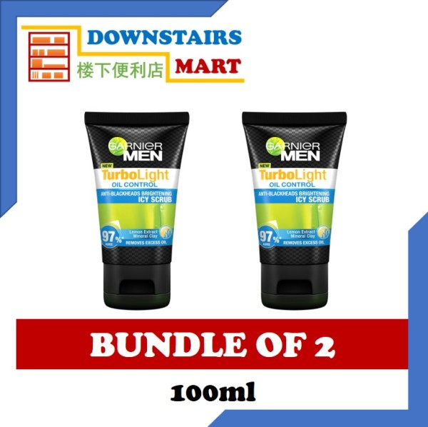 Buy [Bundle of 2] Garnier Men Turbolight Oil Control Icy Scrub 100ml x 2 Singapore