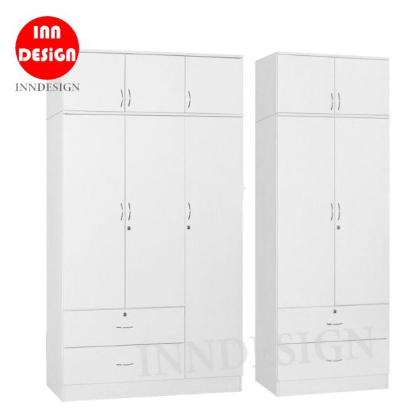 Carrlie 2/3 Doors Wardrobe With Top Storage (Free Delivery and Installation)