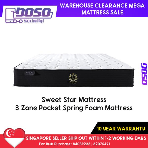Warehouse Clearance Mattress Sale - Sweet Star Mattress – 3 Zone Pocket Spring Foam Mattress S$349 10 Year Warranty