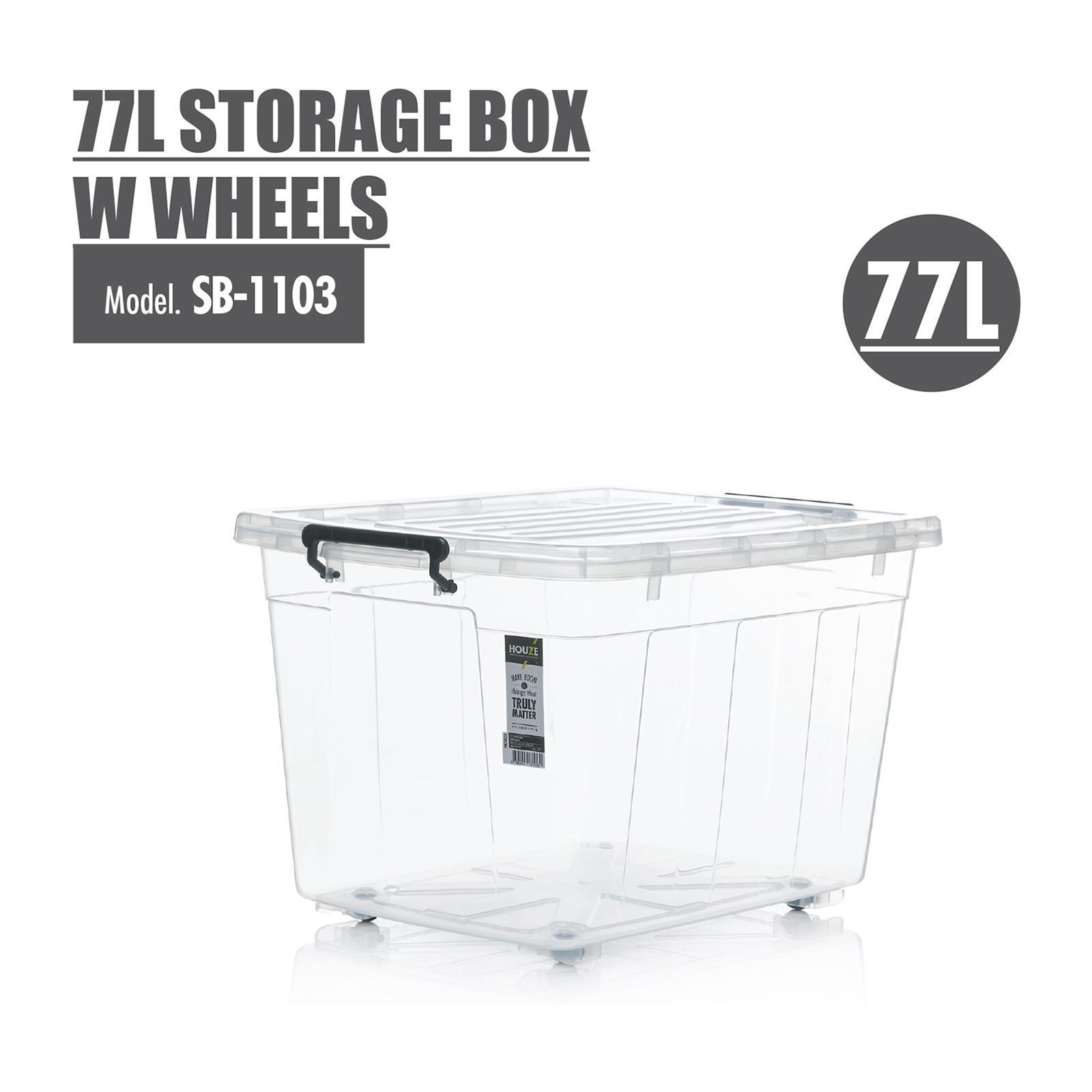 Houze 77L Storage Box With Wheels - SB-1103-CLEAR