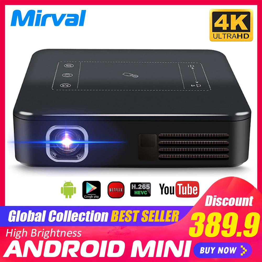 c07c8c9a231bcc Mirval DP10 Mini LED Portable Projector DLP Android 7.1 3D 4K Classroom Home  Theater Wireless Mirroring