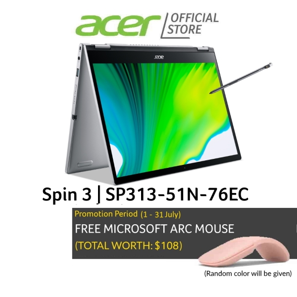 Acer NEW Spin 3 SP313-51N-76EC 13.3 inch (2560x1600) IPS Touch Screen Laptop |  Intel i7-1165G7 Processor | 16GB RAM | 1TB SSD