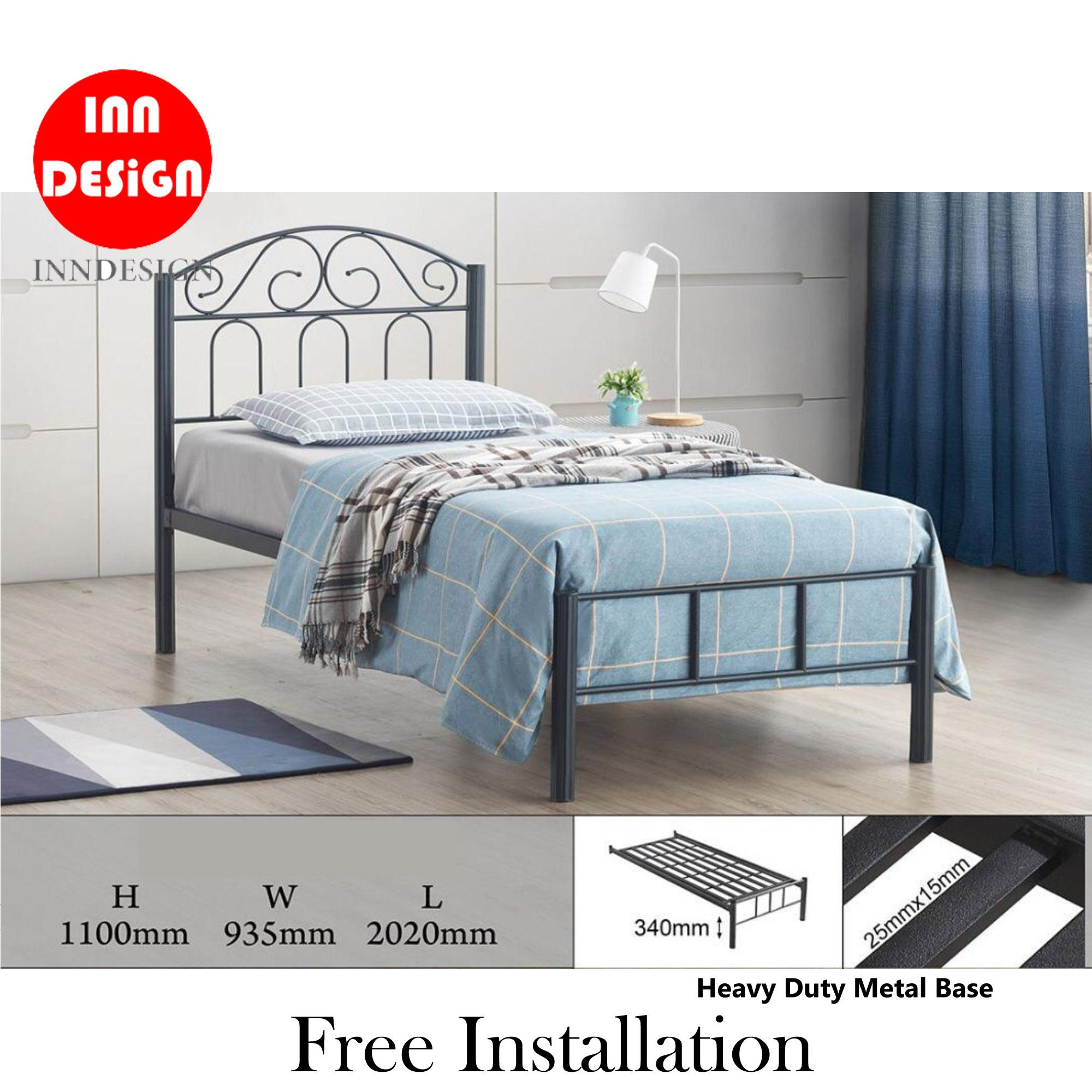 [NEW ARRIVAL] [6 Months Warranty]  Emi II Single Heavy Duty Metal Bedframe / Bed (Free Delivery and Installation)