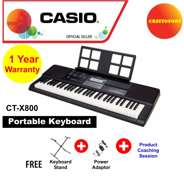 Casio Keyboard Ct-X800 61 Keys Touch Sensitive Piano Style Standard Portable Keyboard With Step Up Lesson System, 600 Tones, 195 Rhythms, 160 Songs, 2x2.5w Speaker & Usb Thumb Drive In ( Ctx-800 / Ctx 800 / Ctx800 ).