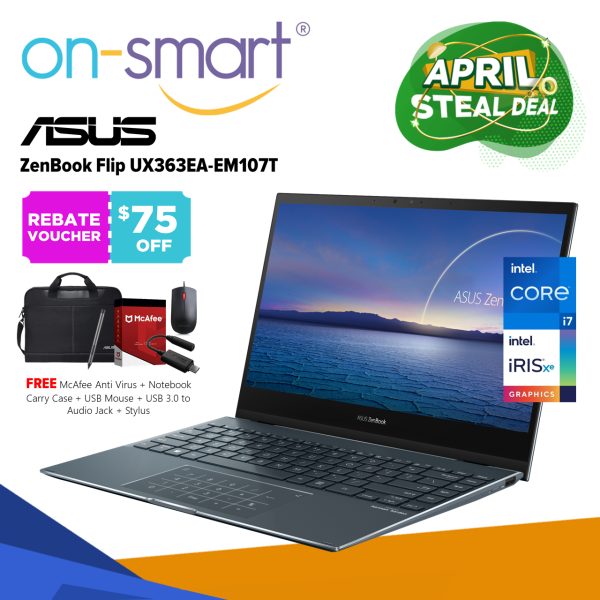 【Next Day Delivery】ASUS ZenBook Flip 13 UX363EA-EM107T | Intel Core i7-1165G7 Processor | 16GB RAM | 512GB NVMe SSD | Intel Iris Xe Graphics | Windows 10 Home | 2 Years International Warranty