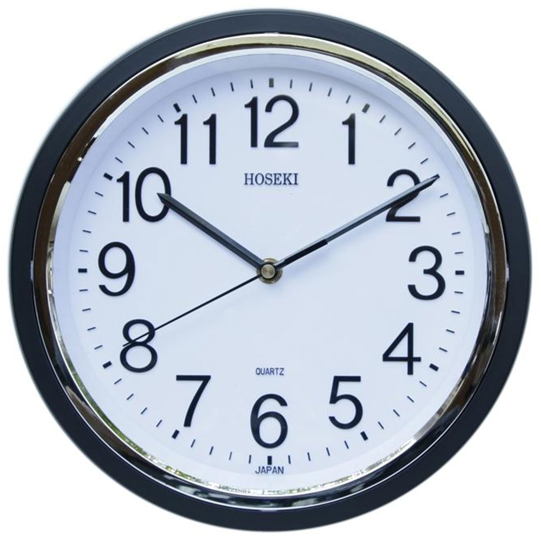 Hoseki Japan Quartz Black Round Analog Decor Wall Clock H-9148BL H-9148