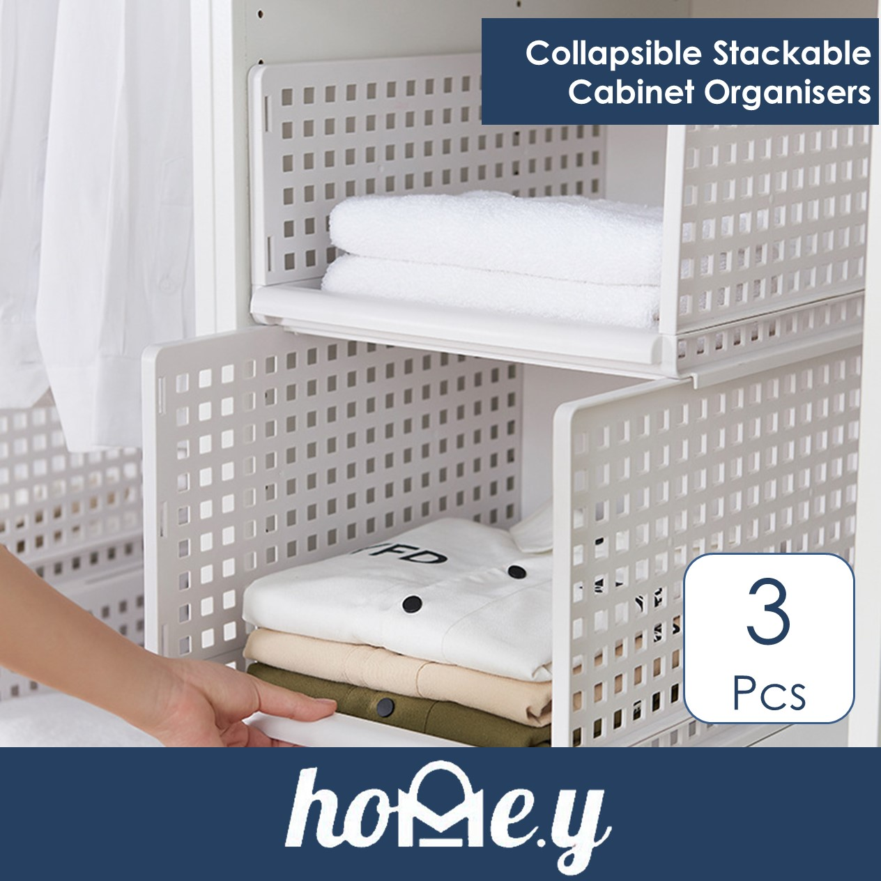 Stackable Storage Shelving for Wardrobe - Collapsible