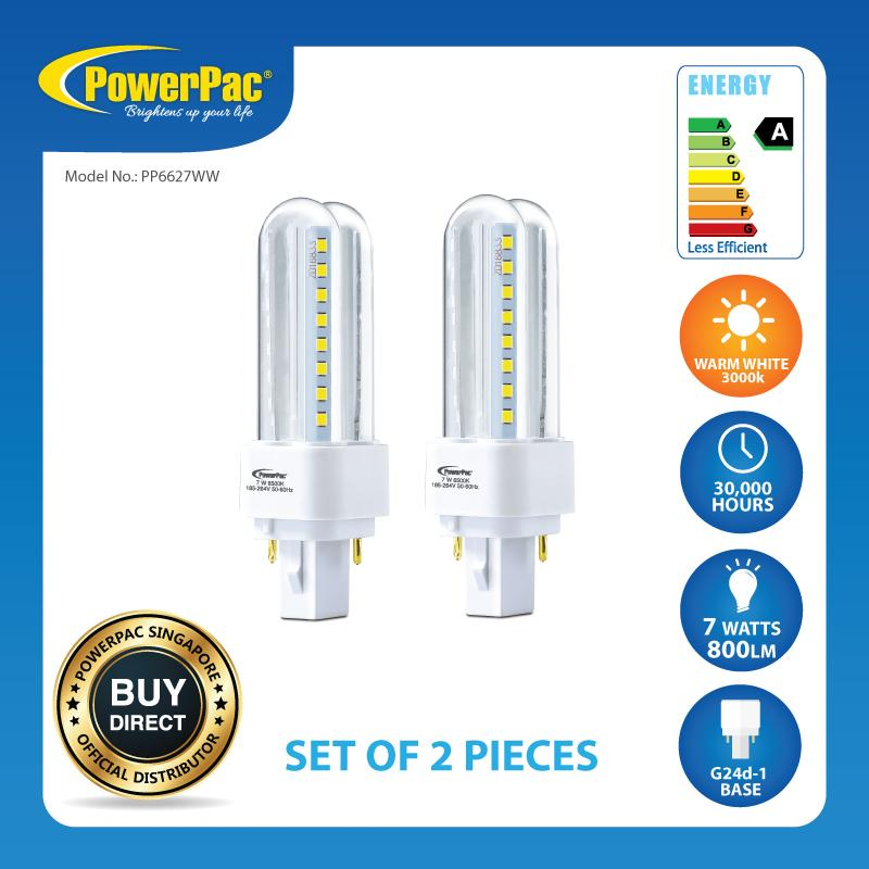 2 Pieces x PowerPac 7W G24d-1 LED PLC Bulb Warm White (PP6627WW)
