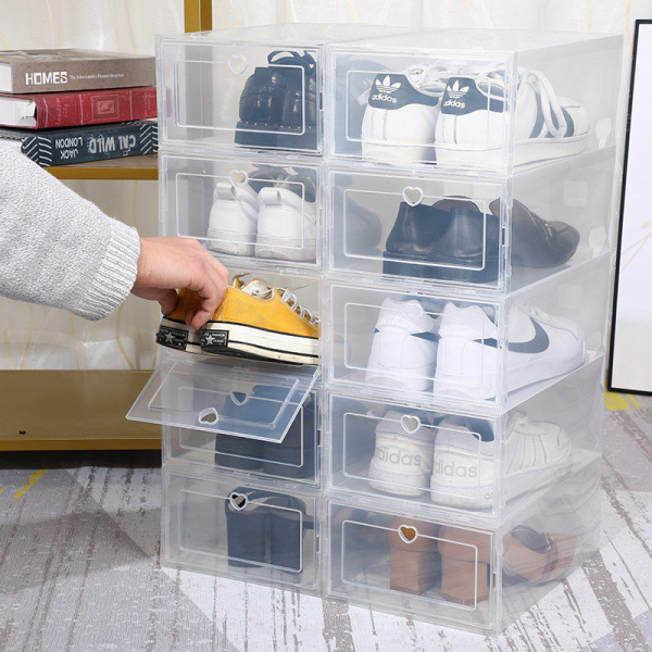 6pcs PP Upgraded Thicker Foldable Stackable Shoe Box Drawer Type Shoes Box Plastic Shoebox Plastic Storage Drawer