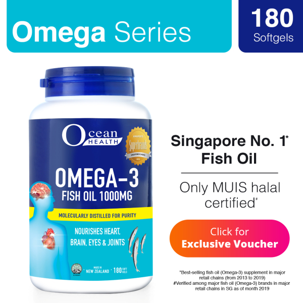 Buy [Ocean Health] Omega 3 Fish Oil 1000mg (180s) Singapore