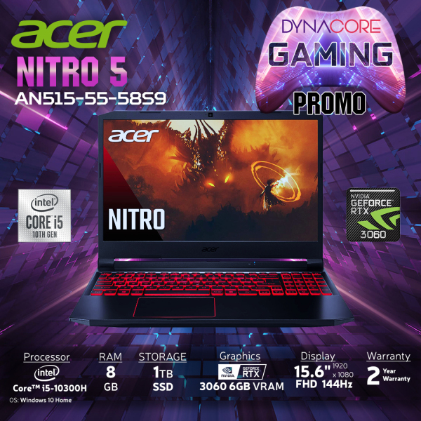 【DELIVERY IN 24 HOURS】DYNACORE - ACER Nitro 5 AN515-55-58S9 Gaming Laptop NH.QB2SG.009 i5-10300H | 8GB RAM | 1TB M.2 NVMe SSD | NVIDIA GeForce RTX-3060 | 15.6 FHD 144hz