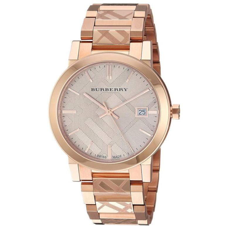 Burberry Ladies The City Engraved Check Rose Gold Stainless Steel Quartz Watch Bu9146 By Watch Centre.
