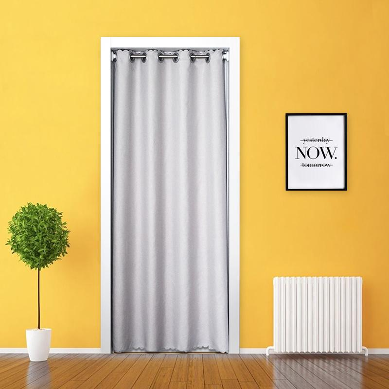 Door Curtain Fabric Partition Send Installation Rod-Free Punched Solid Color Simple Living Room Kitchen Decoration Household Door Curtain Fabric