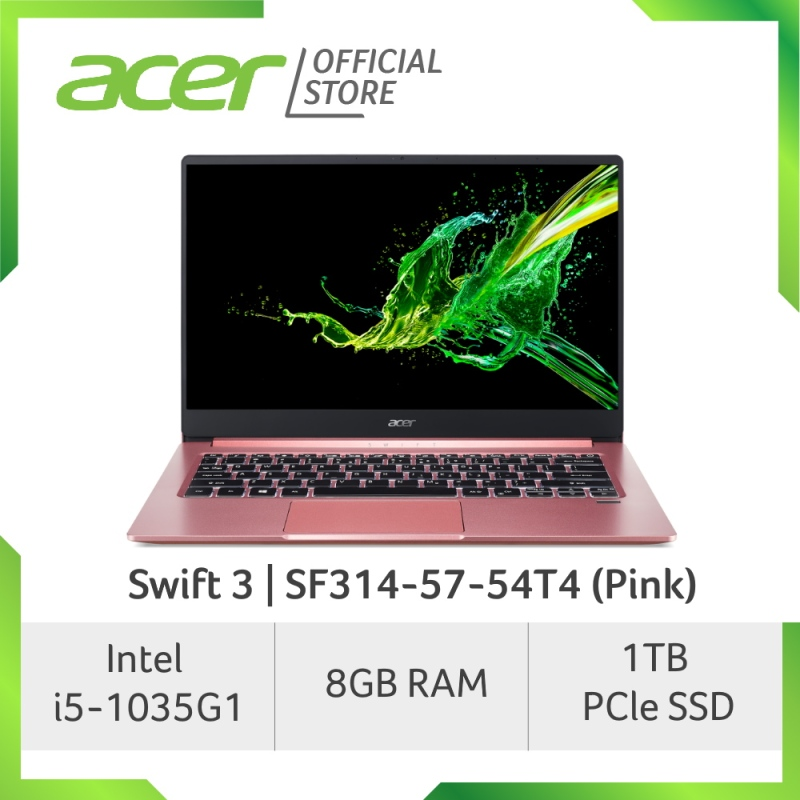Acer Swift 3 SF314-57-54T4 (Pink) NEW Thin and light laptop with LATEST 10th gen Intel i5-1035G1
