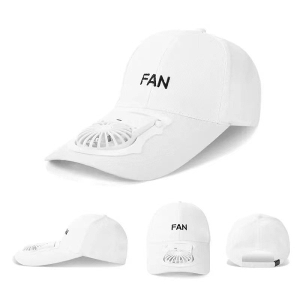 [Sg Ready Stock] Unisex USB Rechargeable Charging Cooling Moveable Adjustable Sweat Absorbing Small Fan Hat Baseball Cap