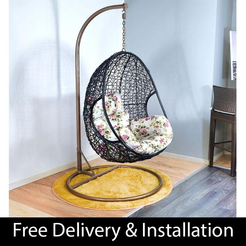 Home Factor Swing Chair with cushions S632 (Outdoor Seating / Swing Chair)  (Free Delivery & Installation) - Balcony Swing chair/Relax Chair/ Lounge Chair/Outdoor Furniture (SG)