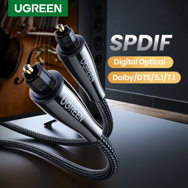 UGREEN 2 Meters Toslink Digital Cable Optical Fiber Audio Cable Adapter Fiber Optic Toslink for TV Blueray PS3 XBOX DVD CD Mini Disc AV Singapore