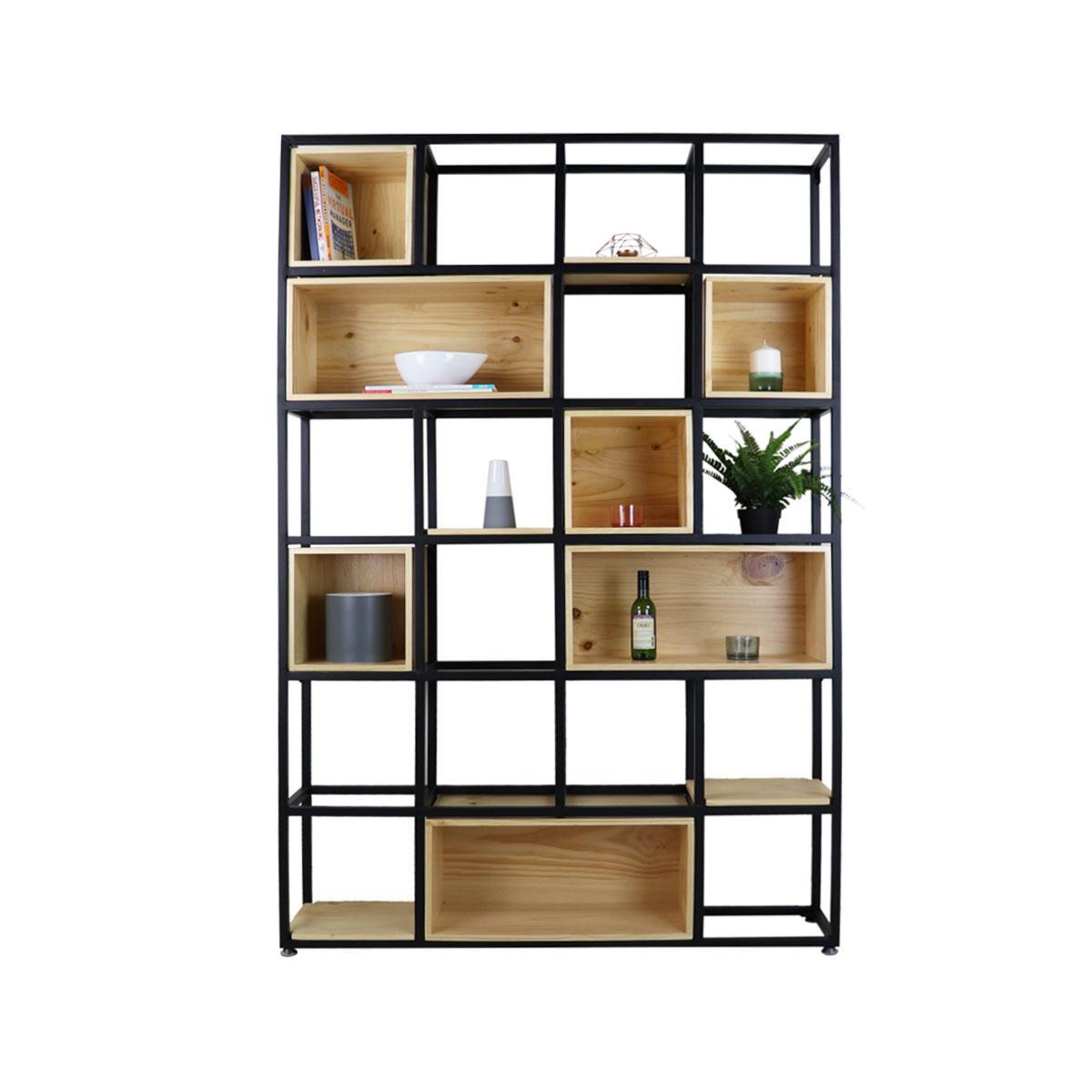 Stefan Scandi-Industrial Display Bookshelf. Cabinet and Storage Furniture.