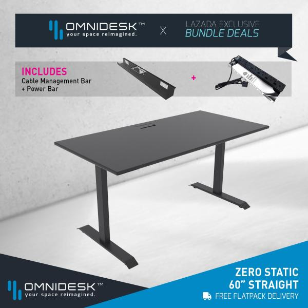 OMNIDESK ZERO Gaming Desk (Fixed Height) - Black 60  Straight Edge + Omnidesk Black Zero Fixed Height Frame