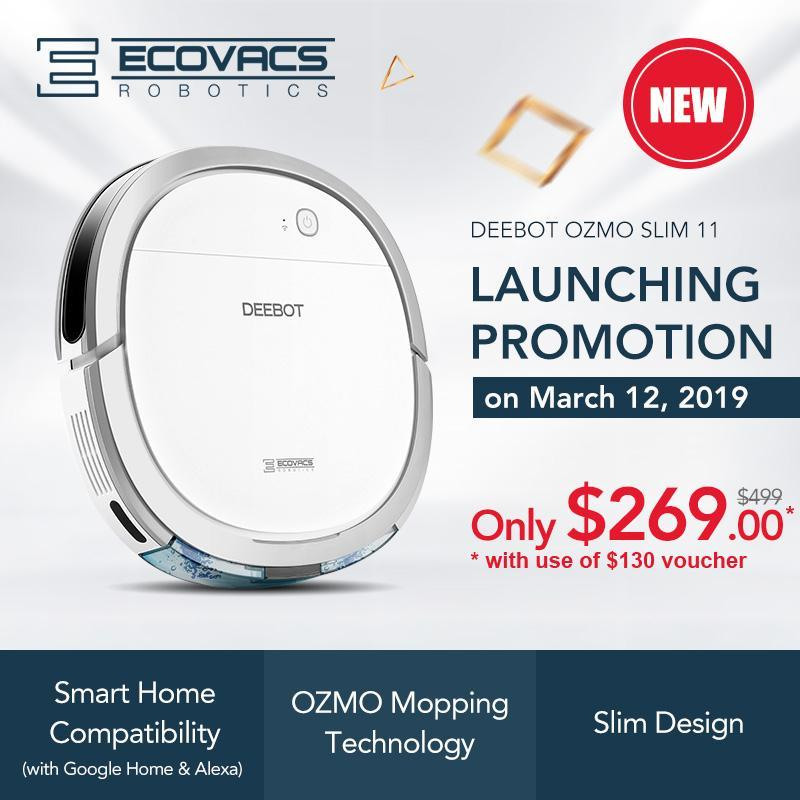 ECOVACS DEEBOT OZMO SLIM 11 ROBOT VACUUM CLEANER [with Google Home & Alexa enabled] Singapore