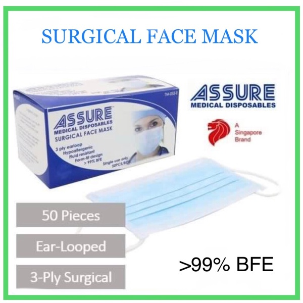 Buy Assure Surgical Face Mask 100% Authentic 3 ply Earloop Blue 50pcs/box 99%BFE Singapore Local Brand  / Ultraguard Surgical Mask / Iptec Surgical Mask / Sensi Surgical Mask / Mico Surgical Mask / Uv Surgical Mask / Dr Duoduo Surgical Mask Singapore