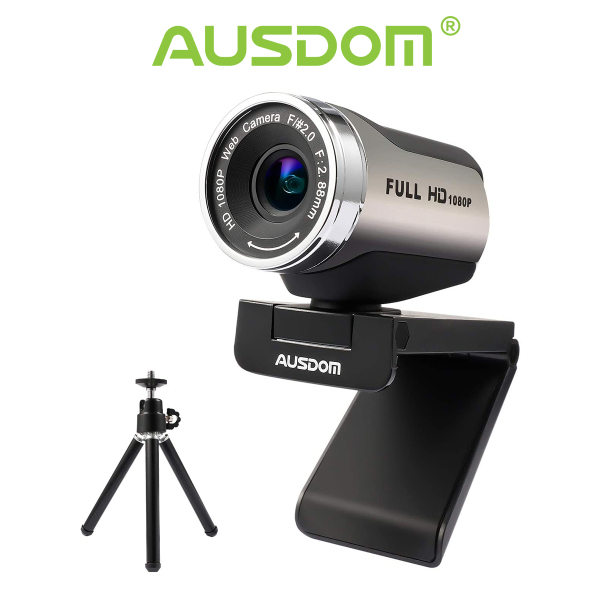 AUSDOM Webcam 1080P with Tripod Stand, USB Plug&Play FHD Web Camera with Microphone, 360° Rotation for Zoom Skype MS Twitch Xbox One OBS Teams Laptop MAC Windows PC (AW615S) Upgraded