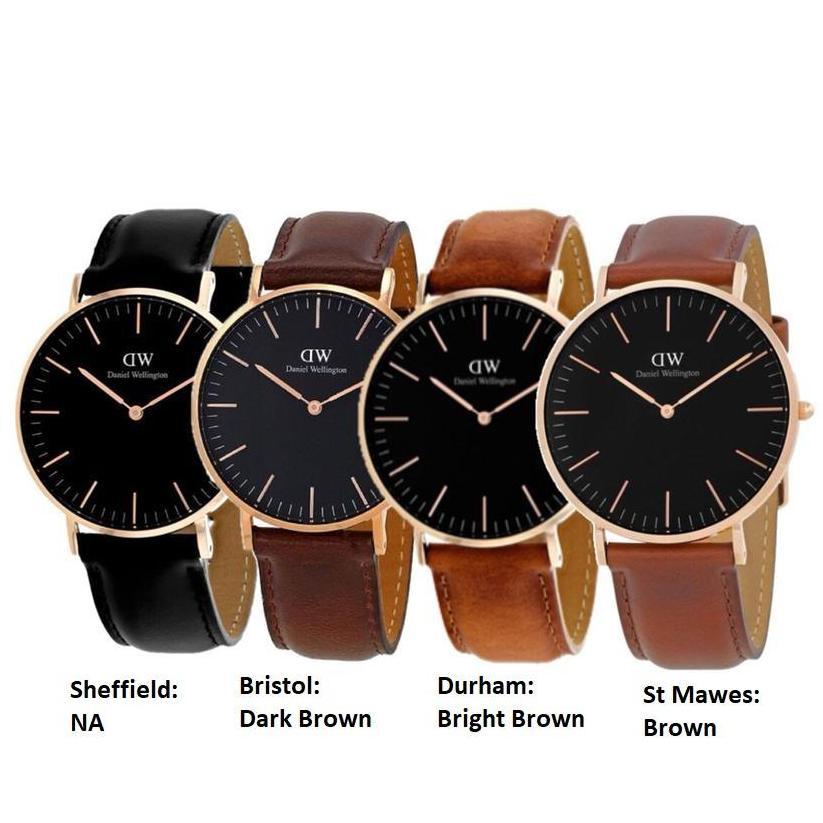 Daniel Wellington Classic Black 40mm Rose Gold Dial Brown or Black Leather Quartz Men's Watch Sheffield
